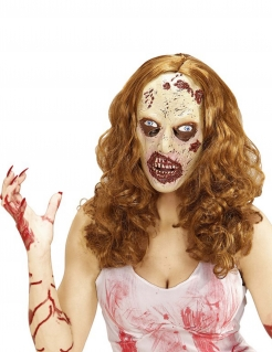 Zombie Damen Maske mit Perücke haut-hellbraun