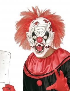 Halloween Maske Killerclown mit Haaren weiss-rot-schwarz