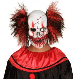 Halloween Maske blutiger Clown weiss-rot-schwarz