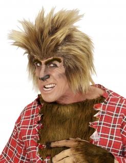 Werwolf Perücke mit Augenbrauen Halloween Kostümaccessoire braun