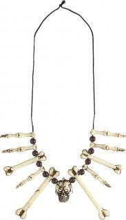 Knochen-Halskette mit Totenkopf Kostümaccessoire braun-beige