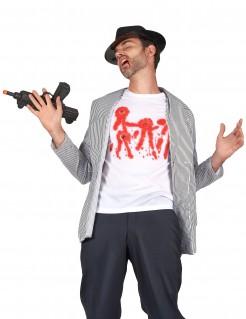 Blutige Einschusslöcher Halloween T-Shirt weiss-rot