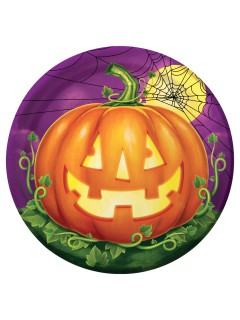 Halloween Teller Kürbis Pappteller 8 Stück violett-grün-orange 23cm