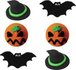 Halloween-Dessert Deko-Süssigkeiten 6 Stück schwarz-orange 2,5cm
