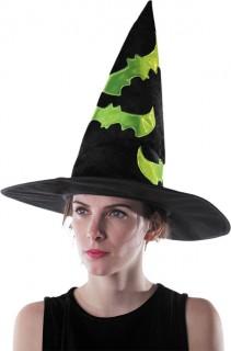 Nachtleuchtender Hexenhut mit Fledermäusen Halloween-Accessoire schwarz-grün