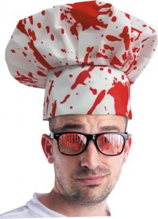 Halloween-Kochmütze weiss-rot