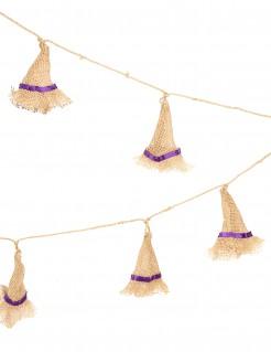 Hexenhut-Girlande beige-lila 1,8m