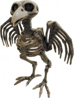 Skelett-Krähe Halloweendeko Gruseltier grau-schwarz 21x18x14cm
