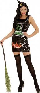 Sexy Halloween Paillettenkleid Hexe schwarz-bunt