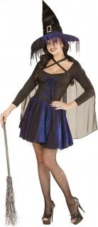 Glitzer Hexe Halloween Damenkostüm schwarz-lila
