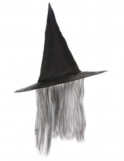 Schwarzer Hexen Hut mit grauem Kunsthaar Halloween schwarz-grau