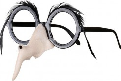 Spaßbrille Hexe mit Hexennase und Federn schwarz
