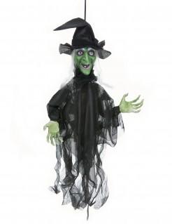 Animierte Hexe mit Leuchtaugen und Sound Halloween Deko schwarz-grün 60cm