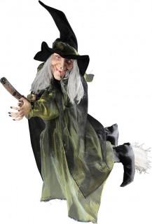 Fliegende Hexe auf Besen Halloween-Hängedeko schwarz-grün 100cm