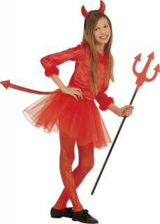 Süsse Teufelin Halloween-Kinderkostüm für Mädchen rot