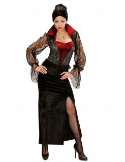 Sexy Gothic-Vampirin Halloween Kostüm für Damen schwarz-rot