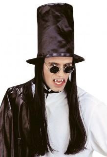 Zylinder mit Haaren Vampir Kostüm-Zubehör schwarz