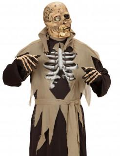 Einäugiger Zombie Halloween-Latexmaske beige