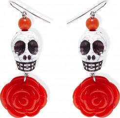 Tag der Toten Ohrringe Totenkopf mit Rose weiss-rot-schwarz