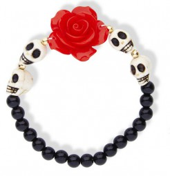 Tag der Toten Armband Rose und Totenköpfe schwarz-weiss-rot