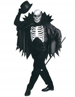 Skelett-Kostümierung Umhang und Maske schwarz-weiss