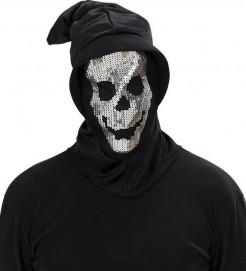 Pailletten-Totenkopf-Maske schwarz-silber