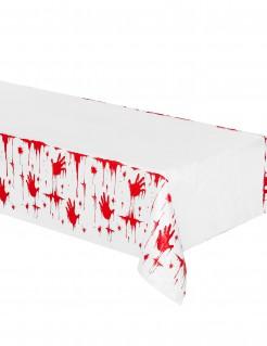 Blutige Handabdrücke Halloween-Tischdecke weiss-rot 135x275cm