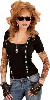 Schwarze Hosenträger mit Totenkopf-Muster - Erwachsene schwarz