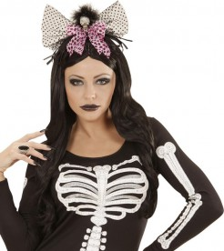 Halloween-Haarreif mit Totenkopf und Fliege schwarz-weiss-rot