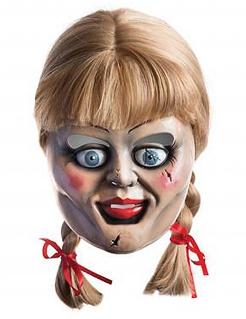 Annabelle-Maske mit Perücke Halloween bunt