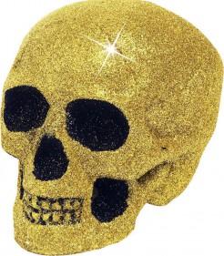 Glitzer Totenkopf Halloween Deko gold 19cm