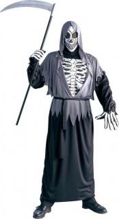 Böser Sensenmann Halloween-Herrenkostüm Tod grau-schwarz-weiss