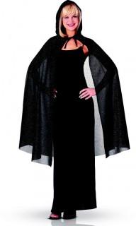 Glitzerndes Cape Halloween-Accessoire schwarz 115cm