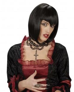 Gothic Perlenhalsband mit Kreuz schwarz-silber