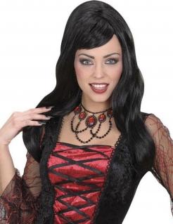 Collier mit Schmucksteinen schwarz-rot
