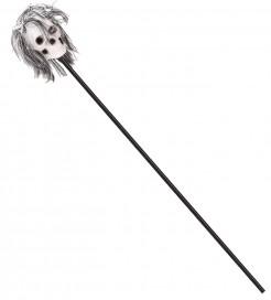 Voodoo Schamanenstock mit Totenkopf Halloween Kostümaccessoire schwarz-weiss-grau 120 cm lang Kopf 19 x 14 cm
