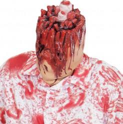 Kopfloser Halloween Maske hautfarben-rot