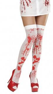 Blutige Overknee-Strümpfe Halloween 70 DEN weiss-rot