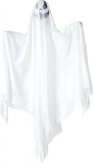 Grinsender Geist animiert Halloween-Deko weiss 90cm