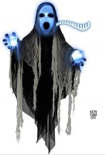 Geist mit Leuchtfunktion und Sound Halloween Deko Sensenmann schwarz 153cm