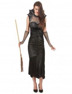 Hexe Damenkostüm mit Spinnweben schwarz-weiß