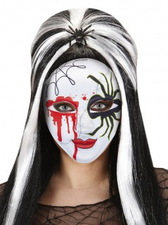 Halloween-Phantom-Maske Blutige Spinnenmaske weiss-rot-schwarz