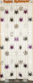 Türvorhang Spinnen Halloween-Deko pink-silber-schwarz 90x200cm