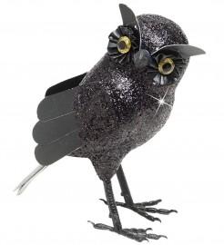 Glitzer Halloween Eule schwarz 19x10x10cm