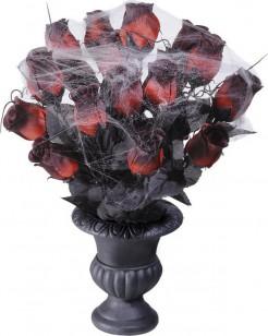 Rote Rosen mit Spinnweben in Vase Halloween-Deko rot-schwarz-grau 35 cm