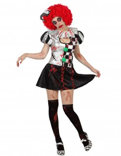 Sexy Horror-Harlekin Halloween-Damenkostüm weiss-schwarz-rot