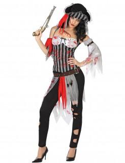 Blutige Piratin Seeräuberin Kostüm grau-weiss-rot
