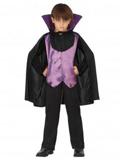 Frecher Vampir Halloween-Kinderkostüm lila-schwarz