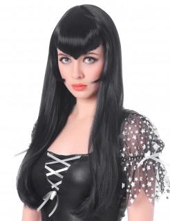 Vampir Perücke mit langem Pony Kostümzubehör schwarz