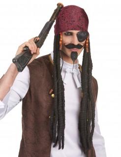 Piraten-Perücke mit Bandana dunkelbraun-rot